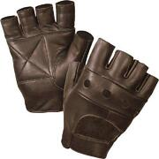 Brown Leather Fingerless Gloves