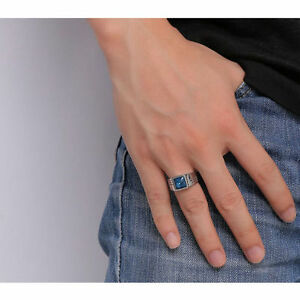 Men's Ring - Stainless Steel with Blue Sapphire - Size 7 - NEW