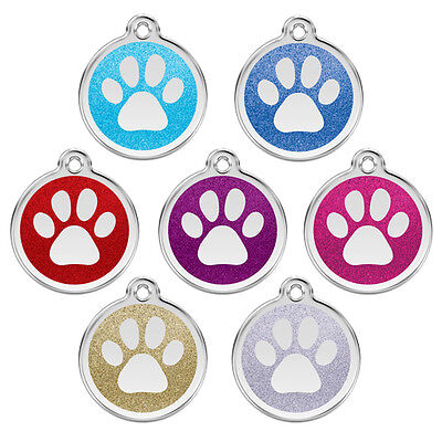 Red Dingo Stainless GLITTER Paw Print Engraved Dog ID Tag — Pick Size/Color - Red Paw Print