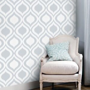 Self adhesive pattern wallpaper gray ogee removable vinyl for Self adhesive wallpaper designs