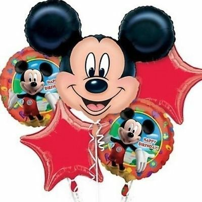 Mickey Mouse Birthday Balloon Bouquet 5 Piece Decorations Party Supplies Favors](Mickey Birthday Decorations)