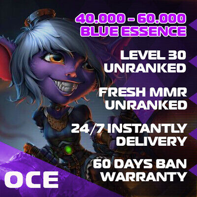 🌊OCE League of Legends LOL Account Smurf 40.000 - 60.000 BE Unranked Level 30