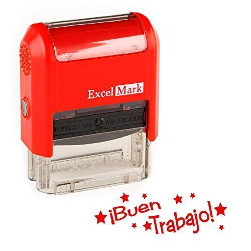 NEW ExcelMark BUEN TRABAJO Self Inking Spanish Teacher Stamp | Red and Blue Ink