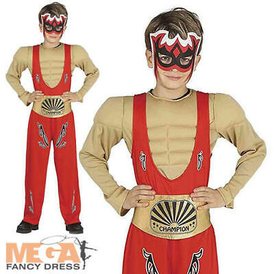 Wrestler Boys Fancy Dress Hulk Hogan WWF Fighter Kids Sports Circus Costume