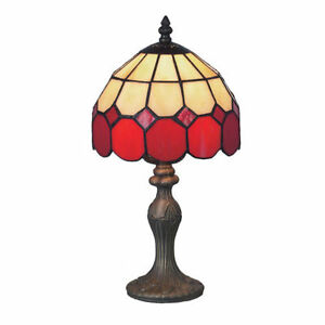 sale price tiffany stained glass table lamp red bistro tbr1 ebay. Black Bedroom Furniture Sets. Home Design Ideas