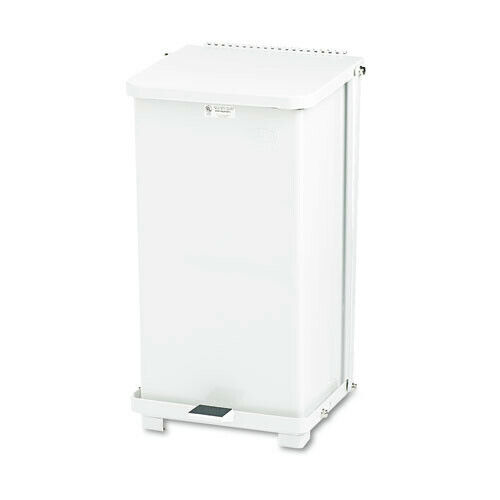Rubbermaid ST12EPLWH Defenders 12 Galloon Biohazard Step Can (White) New
