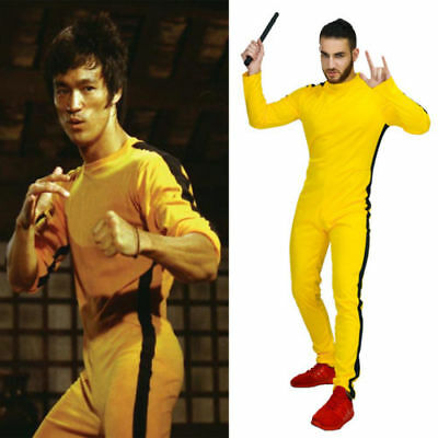 US! Adult Bruce Lee Game of Death Jumpsuit Kung Fu Cosplay Costume Sportswear - Bruce Lee Yellow Jumpsuit