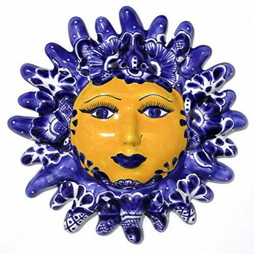 """Sun Face of Mexican Talavera Ceramic Hand Painted - Wall Hanging - 12""""- Blue"""