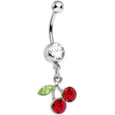 - 14G RED CHERRY CZ GEM DANGLE STEEL BELLY BUTTON NAVEL RING BODY PIERCING JEWELRY
