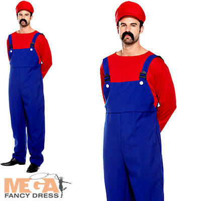 Super Mario Workman Mens Fancy Dress Plumber Video Game Adult Costume 80s Outfit](80s Cartoon Characters Halloween Costumes)
