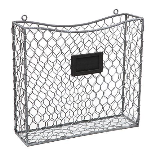 country rustic gray metal wire wall mounted magazine file mail holder basket ebay. Black Bedroom Furniture Sets. Home Design Ideas