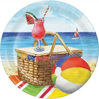 Breezy Beach 7 Inch Paper Plates Drinks Beach Picnic Summer Party Decorations - Beach Paper Plates