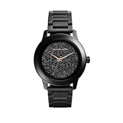 New Michael Kors Kinley Pave Crystal Dial Black Women's 42mm MK5999 Watch