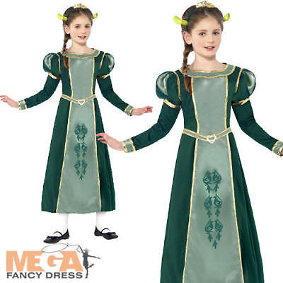 Shrek Girl Kostüm (Princess Fiona Girls Fancy Dress Shrek Fairytale Halloween Childrens Costume New)