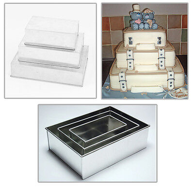 "3T HEAVY DUTY RECTANGLE WEDDING CAKE TINS 8"" 10"" 12"""