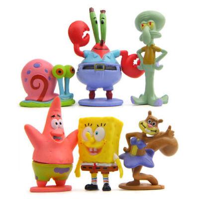 SpongeBob SquarePants Sandy 6 PCS Action Figure Cake Topper Kid Doll Gift Toy US - Spongebob Cake Toppers