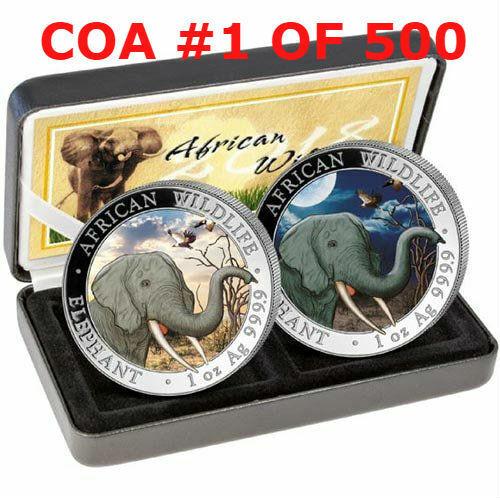 SOMALIA SILVER ELEPHANT DAY & NIGHT SET - 2018 2 X 1 oz Silver Coins COA #1
