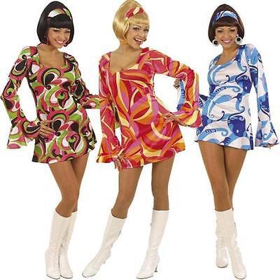 Sexy Damen Kostüm 70er Jahre Lady Kleid Hippie Flower Power Mottoparty S M (Sexy 70er Jahre Kostüm)