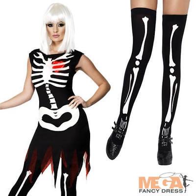 Bright Bones Skeleton + Stockings Ladies Halloween Womens Costume Outfit UK - Bright Bones Halloween Costume
