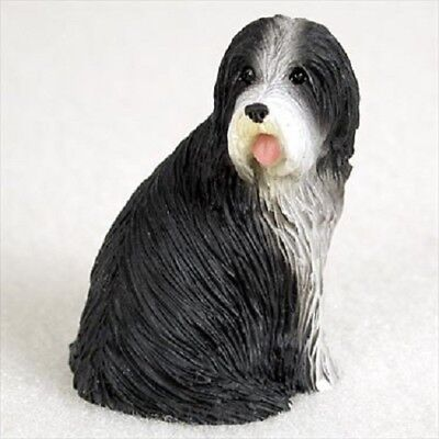 BEARDED COLLIE dog FIGURINE Hand painted MINIATURE Sm Mini Statue BEARDIE puppy