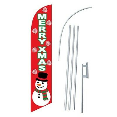 Merry Christmas Swooper Flag Windless Feather Sign Kit Banner 2.5 Snowman