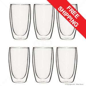 MILAN DIRECT 6x Double Wall Thermo Glass Insulated Set 450ml  Tea Coffee