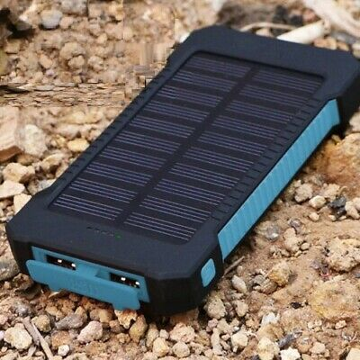 Portable 900000mAh Solar Power Bank Extrinsic 2 USB Battery Charger Blue + Black