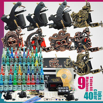 Starter Complete Tattoo Kit 9 Machine Gun Power Supply 50 Needles 40 Ink Set D23 on Rummage