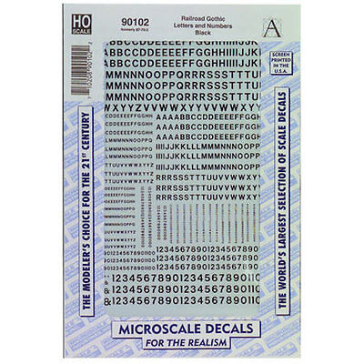 Microscale 90102 HO Scale Decals Letters & Numbers, Gothic/Black