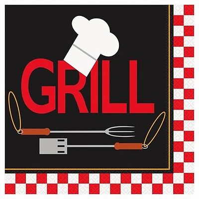 BACKYARD BBQ CHEF EXTRA LARGE LUNCH NAPKINS (16) ~ Birthday Party Supplies Red