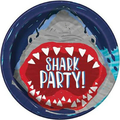 SHARK PARTY LARGE PAPER PLATES (8) ~ Birthday Supplies Dinner Luncheon Blue - Shark Birthday Supplies