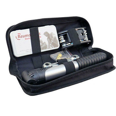 BIKE CYCLE BICYCLE FRAME TOOL PUNCTURE REPAIR KIT CARRY CASE BAG WITH PUMP SET