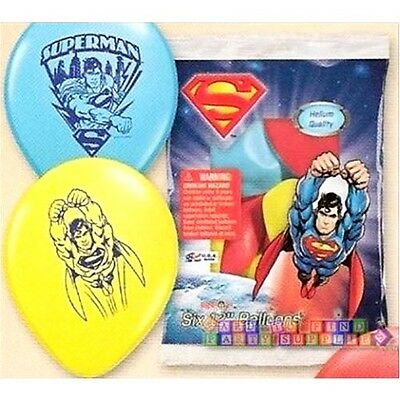 SUPERMAN LATEX BALLOONS (6) ~ Superhero Birthday Party Supplies Helium - Superman Party Decorations