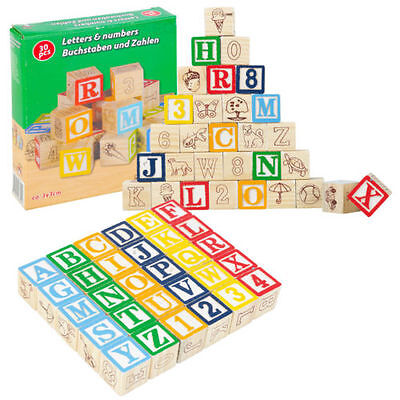 30PC PIECE LETTERS AND NUMBERS WOODEN BLOCKS CHILDRENS EDUCATIONAL TOY PLAYSET
