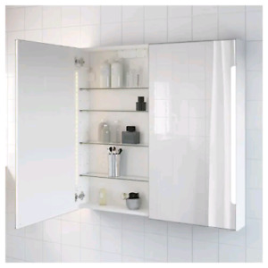 IKEA medicine cabinet with side-lit mirrors