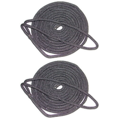 2 Pack of 1//2 Inch x 20 Ft Black Double Braid Nylon Mooring and Docking Lines
