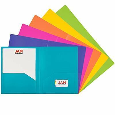Jam Paper Heavy Duty Plastic 2 Pocket School Folders - Assorted Fashion Color...
