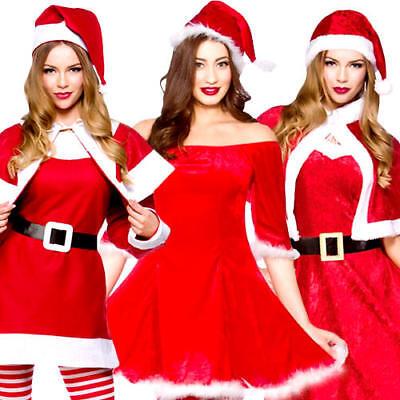 Lady Santa Claus Ladies Christmas Fancy Dress X-Mas Festive Adults Costumes (Lady Santa Claus Kostüme)