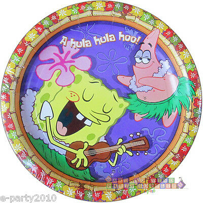 SPONGEBOB SQUAREPANTS Luau SMALL PAPER PLATES (8) ~ Birthday Party Supplies Cake](Luau Paper Plates)