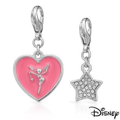 Tinkerbell Heart Charm - DISNEY COUTURE TINKERBELL PINK HEART & CRYSTAL STAR 2 BRACELET CHARMS SET~2 LEFT