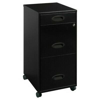 Mobile File Cabinet W Lock Rolling Storage 3 Drawer Office Black Metal Vertical