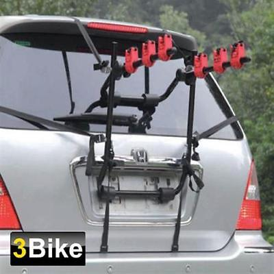 3 BICYCLE CARRIER BIKE CAR CYCLE RACK UNIVERSAL FITTING SALOON HATCHBACK ESTATE