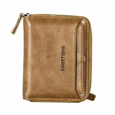 Men Men's Leather Bifold Credit ID Card Holder Wallet w Zipper Coin Pocket Purse