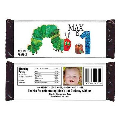 12 The Very Hungry Caterpillar Party Favor Personalized Candy Wrappers - Hungry Caterpillar Party