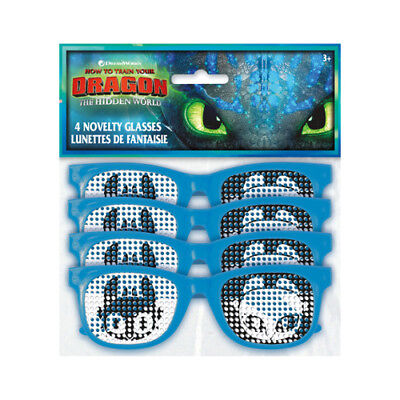 HOW TO TRAIN YOUR DRAGON 3 GLASSES (4) ~ Birthday Party Supplies Plastic Favors
