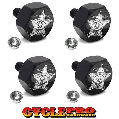 4 Black Billet Hex License Plate Frame Tag Bolts SHERIFF STAR BADGE - 057