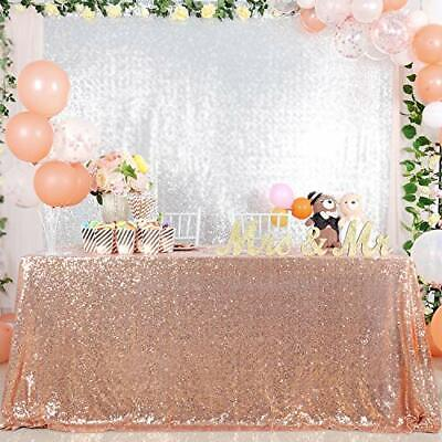 Sequin Tablecloth Rose Gold 152x259CM Glitter Wedding Table Overlay