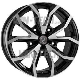 Brand new set of Wolfrace Assassin Black / polished 18″ Alloy Wheels Ford Transit