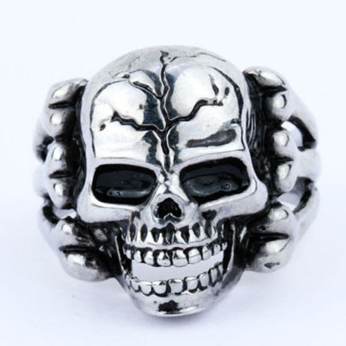 a2edf1d586f 316L Stainless steel steam men punk ring gothic rings cool skull Mens  Jewelry