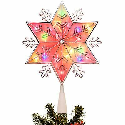 Lighted Christmas Tree Topper, Colorful Plug in Star Treetop with 20 Incandesce